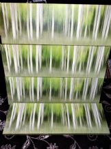 "4 X  ART BLOCK SHADES OF GREEN 35.5"" X 12"" HORIZONTAL HANGING GREAT SET"